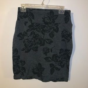 Forever XXI Grey and Black Floral Pencil Skirt